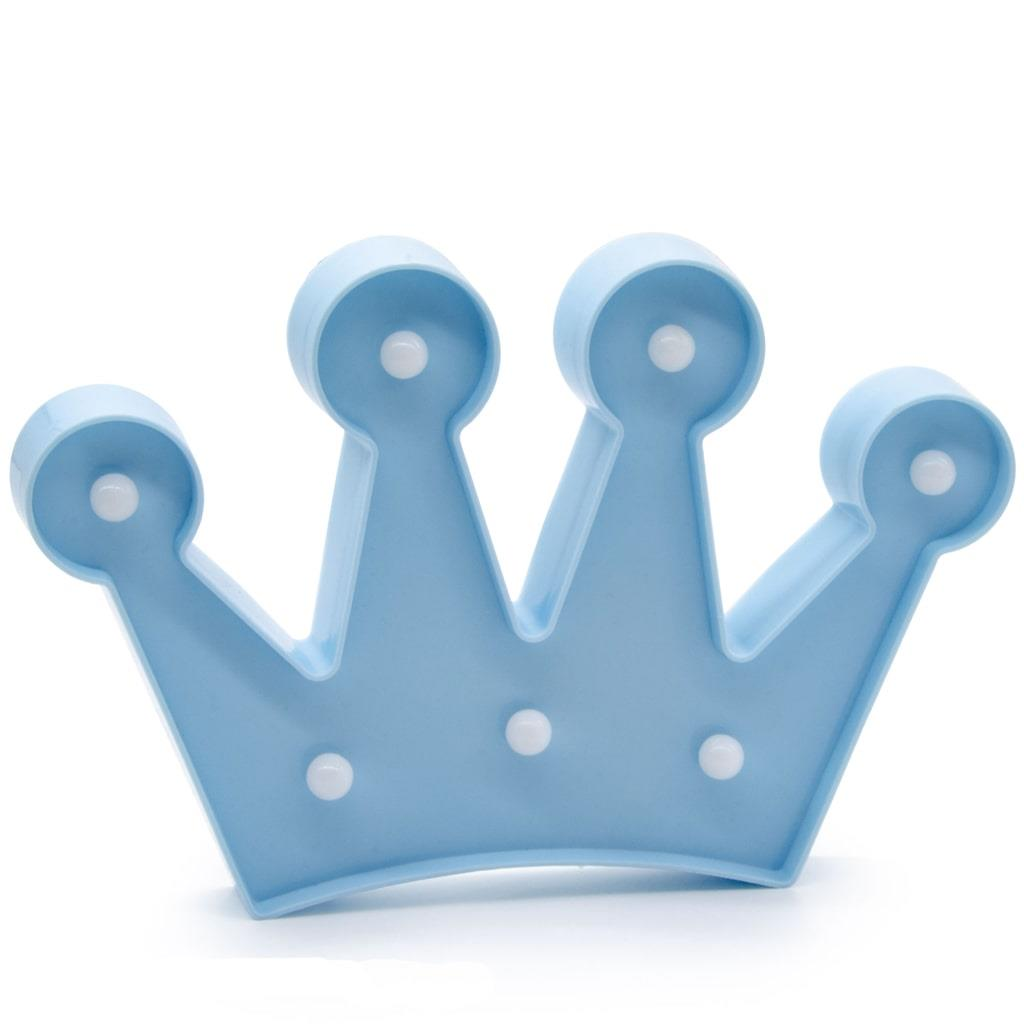 Coroa Azul Decorativa com Luz, 17 cm