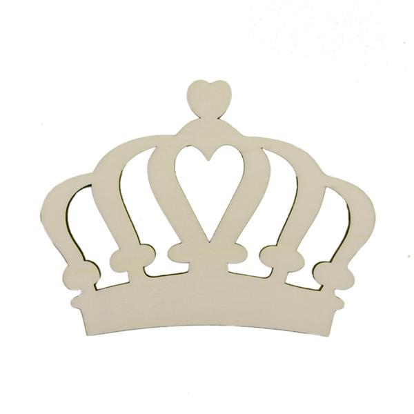 Coroa com Coração em Madeira, 6 cm