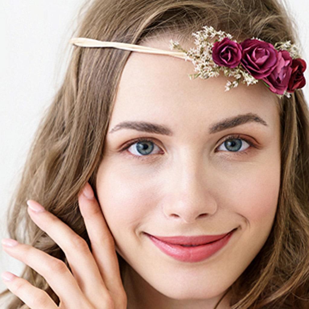 Coroa com Flores Bordô Damas de Honor