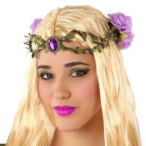 Coroa com Rubi e Flores Roxas