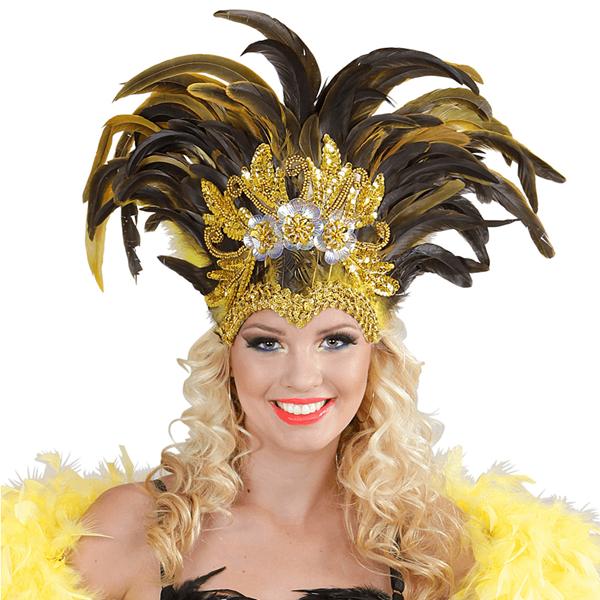 Coroa de Plumas Pretas com Lantejoulas Douradas