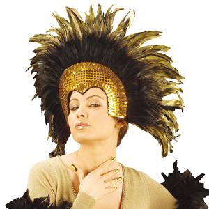 Coroa de Plumas Pretas e Lantejoulas Douradas