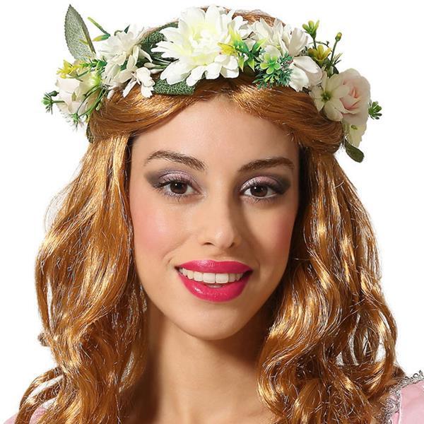 Coroa Flores Brancas e Folhas