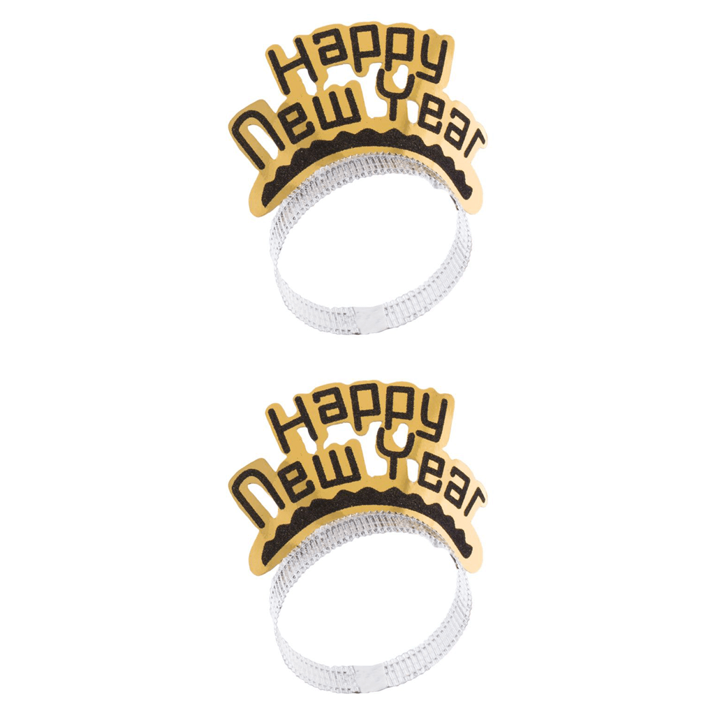 Coroa Happy New Year Dourada, 2 Unid.