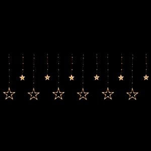 Cortina 12 Estrelas de Natal Led Branco Quente, 3 mt