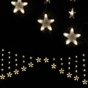 Cortina Estrelas 136 luzes de Natal Led Branco Quente, 460 cm