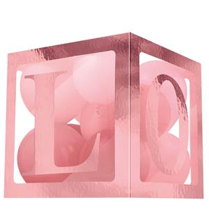 Cubo para Balões Love Rosa Gold