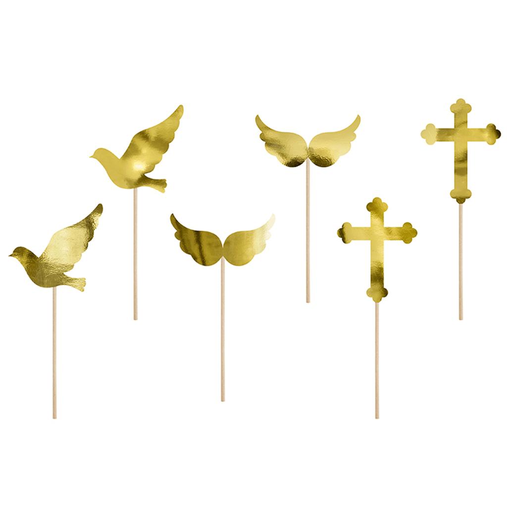 Cupcake Toppers Comunhão ou Batizado, 6 Unid.