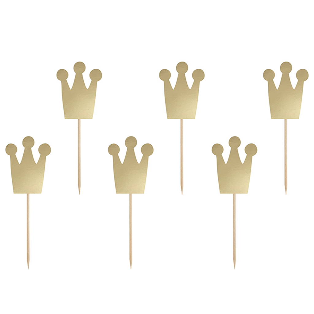 Cupcake Toppers Coroa Dourada, 6 Unid.
