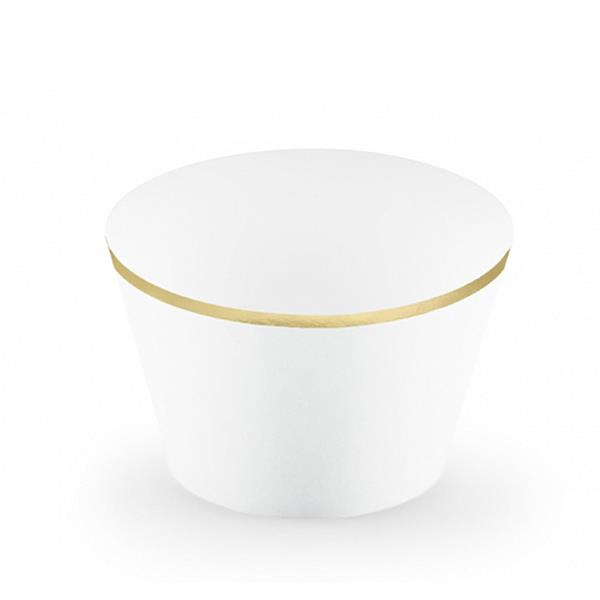Cupcake Wraps Brancos com Rebordo Dourado, 6 unid.