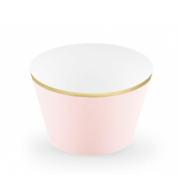 Cupcake Wraps Rosa com Rebordo Dourado, 6 unid.