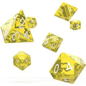 Dados Translúcidos Amarelos Várias Formas, 7 unid.