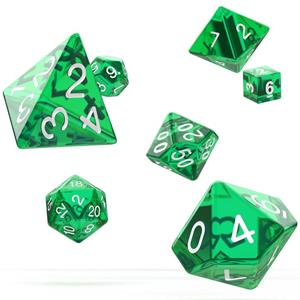 Dados Translúcidos Verdes Várias Formas, 7 unid.