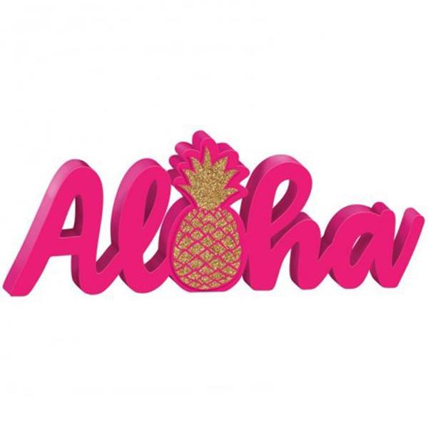 Decoração Aloha em Madeira Rosa, 35 x 13 cm