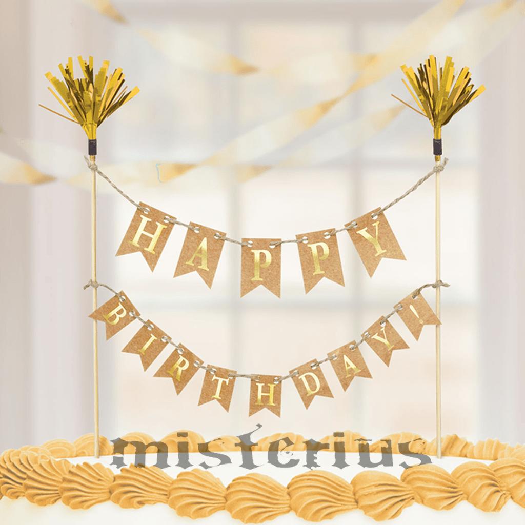 Topper Happy Birthday Dourado