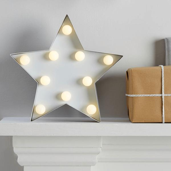 Estrela Branca Decorativa com Luz, 24 Cm