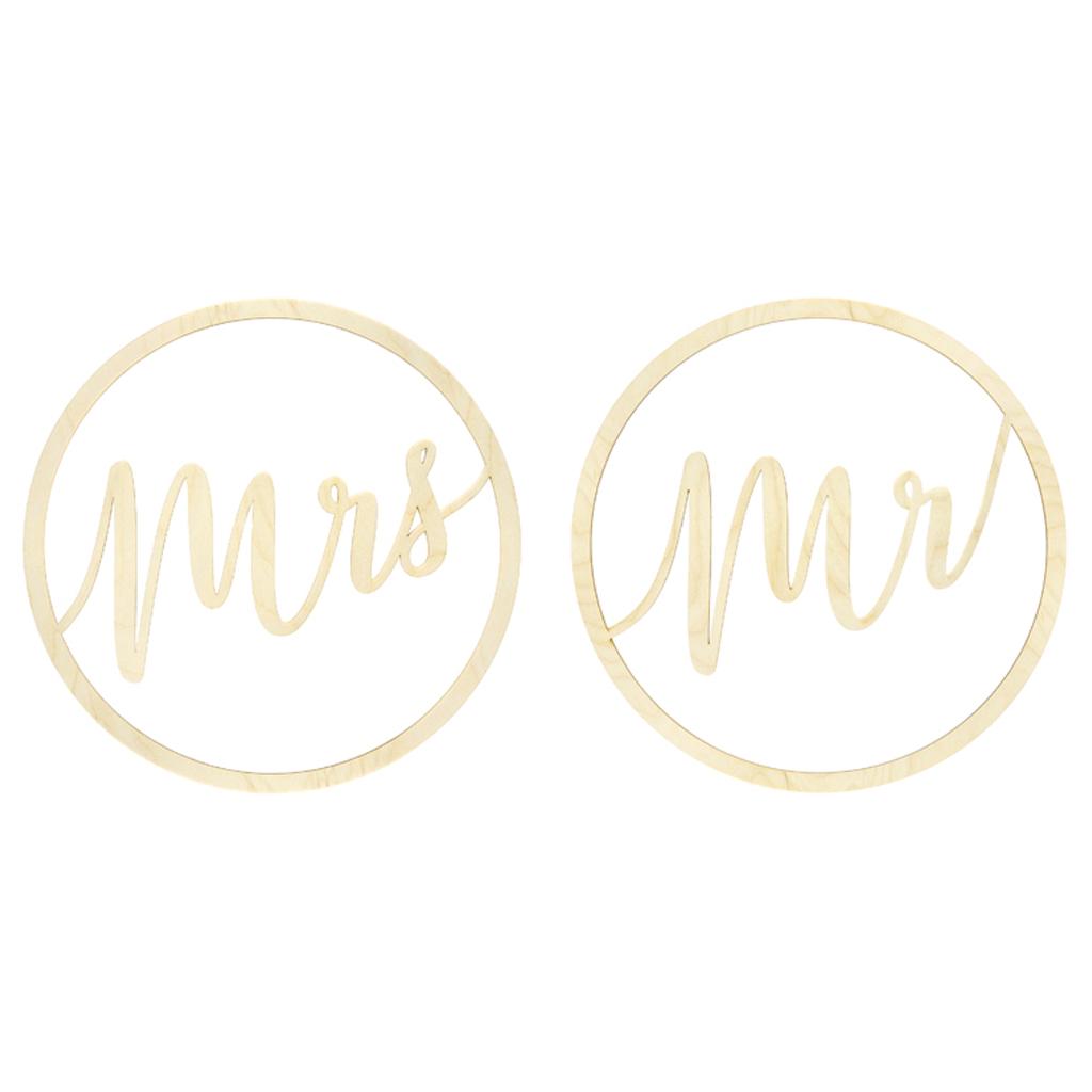 Decoração de Pendurar em Madeira Mr e Mrs, 38 cm