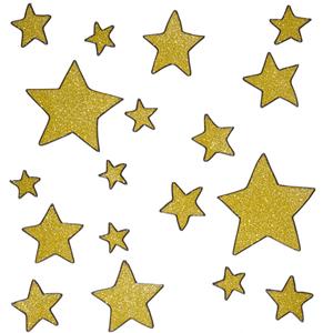 Decoração Estrelas Douradas Brilhantes Adesivas, 18 unid.