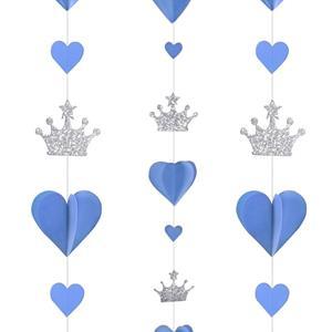Decoração Suspensa Corações Azuis e Coroa Prateada