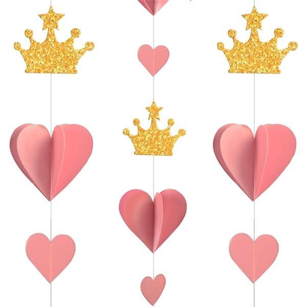 Decoração Suspensa Corações Rosa e Coroa Dourada