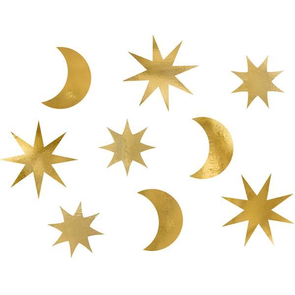 Decorações Luas e Estrelas Douradas, 9 unid.