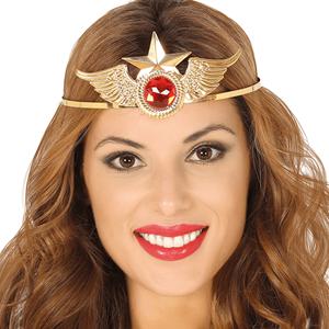 Diadema Super Heroína Dourado com Rubi
