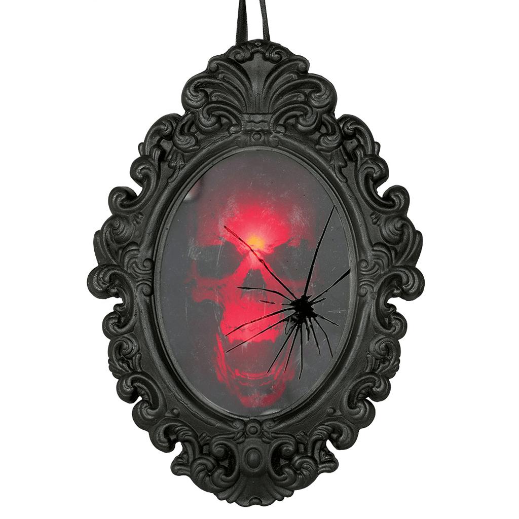 Espelho Caveira com Luz e Som, 25 x 36 cm