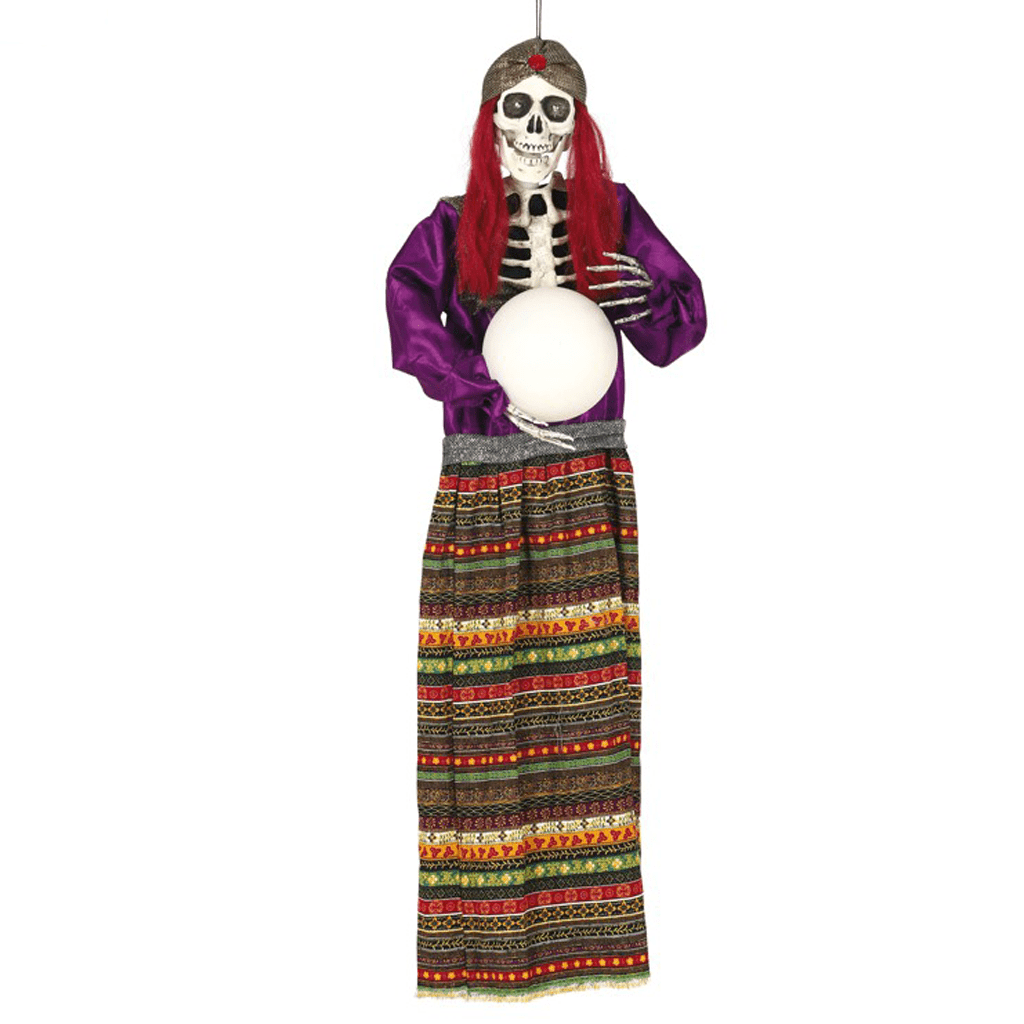 Esqueleto de Vidente com Bola, Luz e Som, 90 Cm