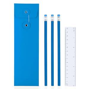 Estojo Azul com Lápis e Régua