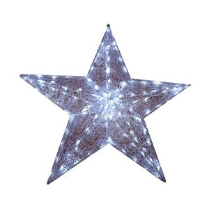 Estrela 3D Malha Pvc-60x60cm Led Branco