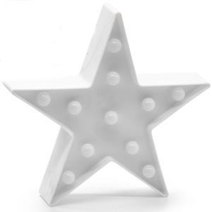 Estrela Branca Decorativa com Luz, 23 cm