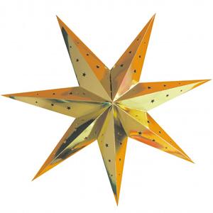 Estrela Natal Metalizada Dourada em Cartão, 70cm