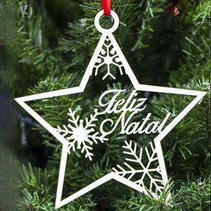 Estrela Feliz Natal em Madeira, 20 cm