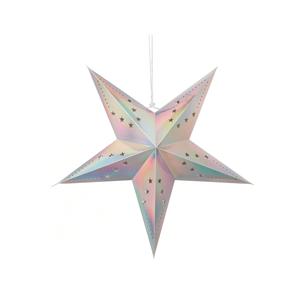 Estrela Natal Metalizada Prata Iridescente em Cartão, 30cm