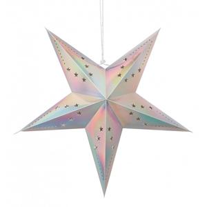 Estrela Natal Metalizada Prata Iridescente em Cartão, 60cm