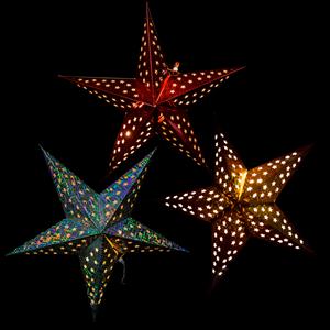 Estrela Papel Metalizado com Luz LED, 60 cm