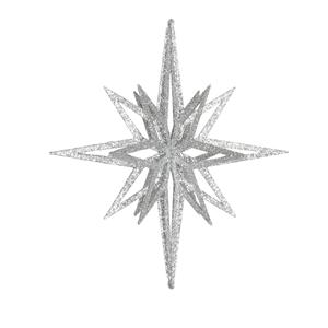Estrela Prateada Brilhante com Purpurinas, 30 Cm