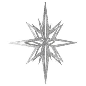 Estrela Prateada Brilhante com Purpurinas, 60 Cm