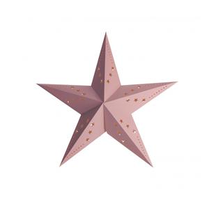 Estrela Natal Rosa Pastel em Cartão, 30cm