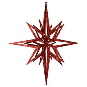 Estrela Vermelha Brilhante com Purpurinas, 60 Cm