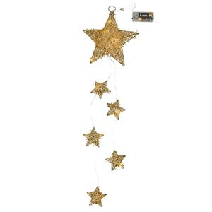 Estrelas Douradas de Natal Led Branco Quente, 53 Cm