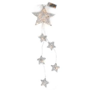 Estrelas Prateadas de Natal Led Branco Quente, 53 Cm