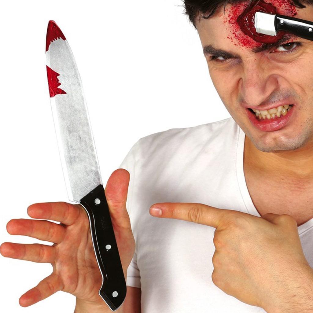 Faca Sangrenta em Plástico, 30 cm