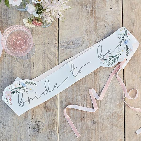 Faixa Bride To Be Floral