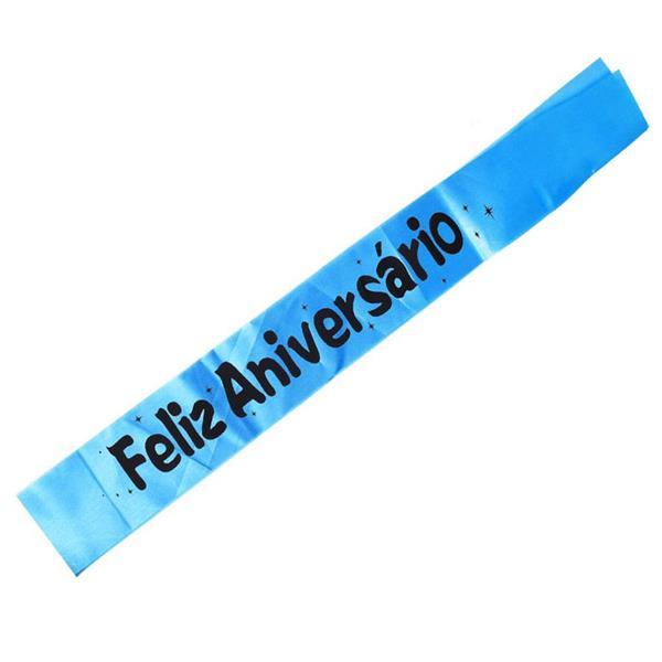 Faixa Feliz Aniversário Azul