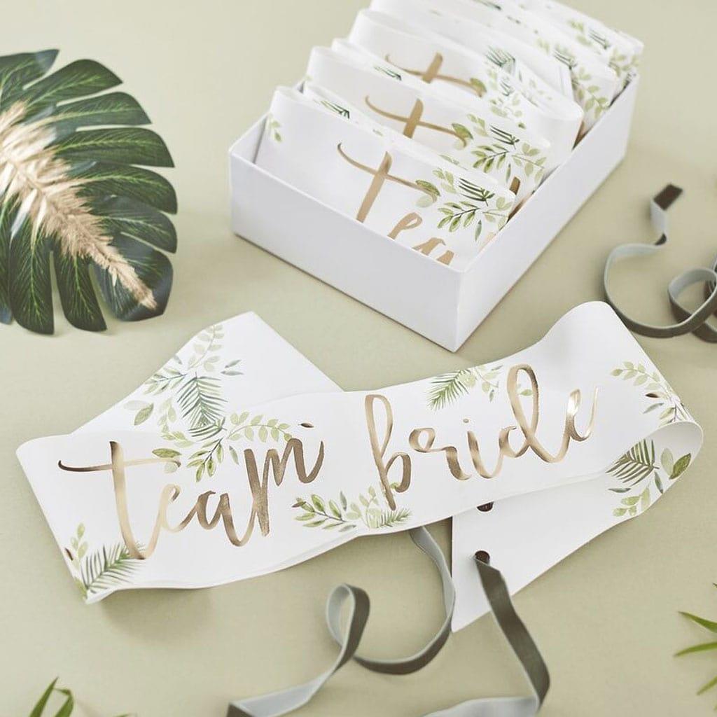 Faixas Team Bride com Folhas Tropicais, 6 unid.