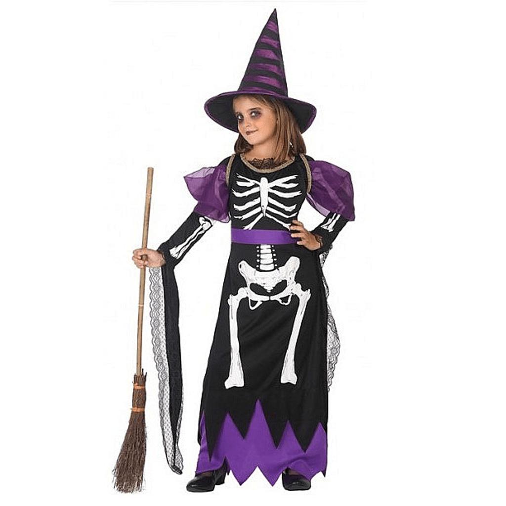 Fato Bruxinha Esqueleto Roxa Menina