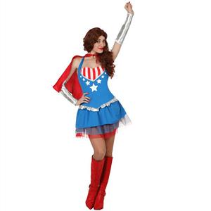 Fato Capitã América com Capa, Adulto