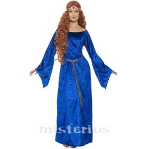 Fato Dama Medieval Azul, Adulto