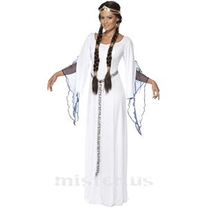 Fato Dama Medieval Branco, Adulto